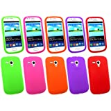 Emartbuy ® Samsung Galaxy S3 Mini I8190 Bundle Pack Von 5 Silicon Skin Cover / Case Lila, Grün, Rot, Orange & Pink