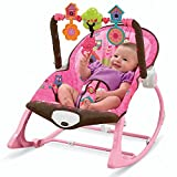 MousePotato Infant to Toddler Rocker Chair with Calming Vibrations, Metal Frame (Rocker-Pink)