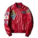 Mode Patches Pu Leather Bomber Biker Jacket Flight Coat Classic Langarm Stehkragen Oberbekleidung Lederjacke Jungs (Color : Rot, Size : XL)