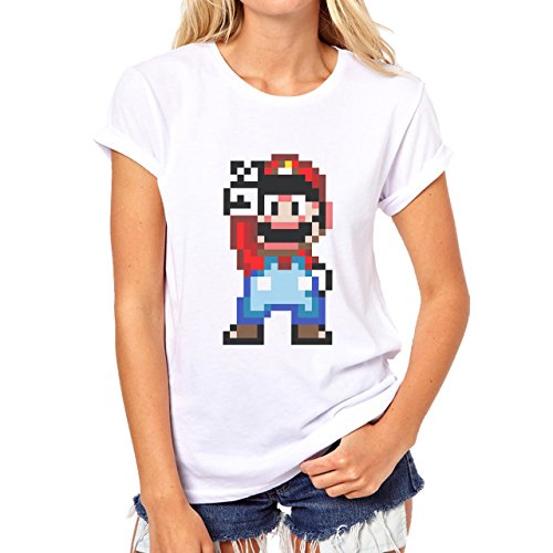 Mario Peace Sign Two Fingers In Air Damen T-Shirt Weiß