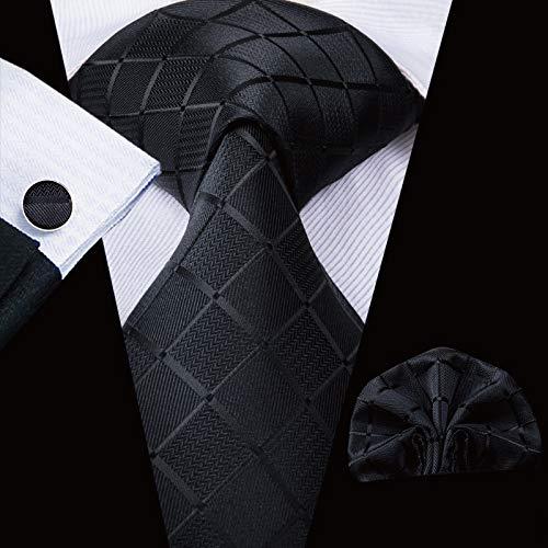 HYCZJH Mens Black Tie Silk Floral Krawatten Set für Männer Taschentuch Manschettenknöpfe Set Hochzeit Pary Business Luxury Neck Tie Set