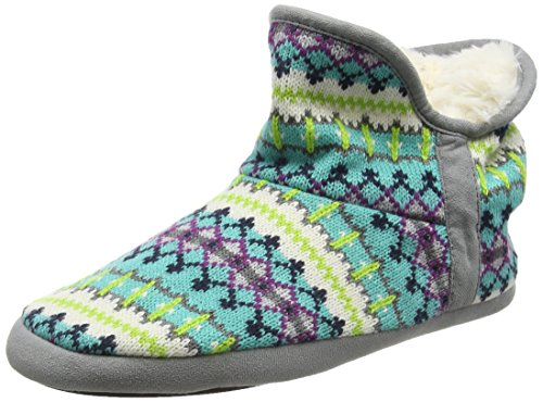 DearfoamsFairisle Bootie With Microsuede Trim and Memory Foam - Pantofole donna, Multicolor (Cool Combo 10401), 36-37