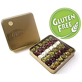 Premium Handmade Turkish Delight - Gluten Free - Assorted -Organic Pistachio covered with assorted fruit & nuts. Vegan - Low Sugar - Authentic Gift Box (36 pcs - Mix of 6)