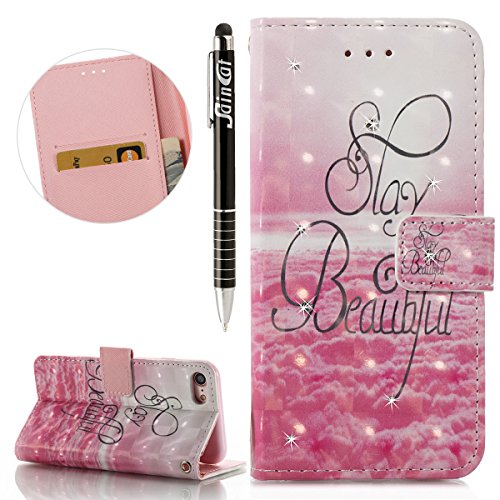 Custodia iPhone 7, Cover iPhone 7 Brillantini, SainCat Custodia in Pelle Cover per iPhone 7, 3D Strass Diamante Bling Glitter Anti-Scratch Book Style PU Leather Case Flip Portafoglio Custodia Libro Pr Bello