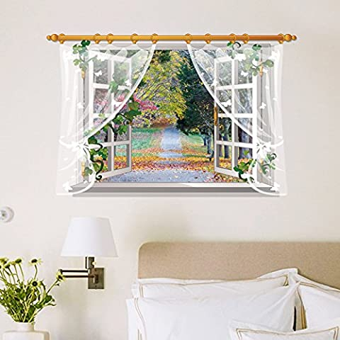 Windscreens landscape leave window can be removed and attach to the wall bedroom living room decorated in a sleeping room background posters self-adhesive 87.5*57cm