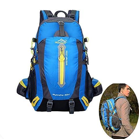40L Wandern Daypack Atmungsaktive Wasserdichte Outdoor Rucksack Große Kapazität Laceration Resistant Rucksack für Mountaineering / Reiten / Reisen Blau