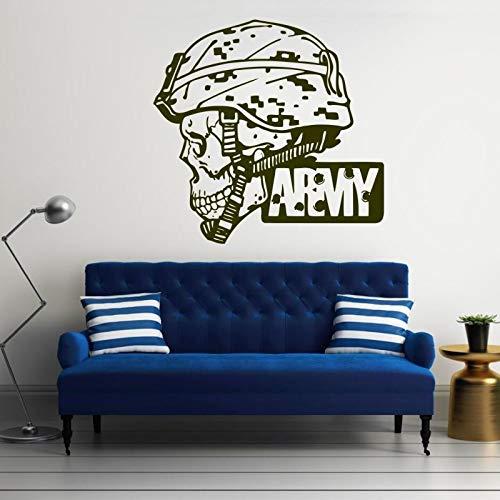 yiyitop Heißer Große Militärsoldat Schädel Camo Decals Armee Mann Porträt Wandbild Hause Dekorative Vinyltapete 60 * 60 cm -
