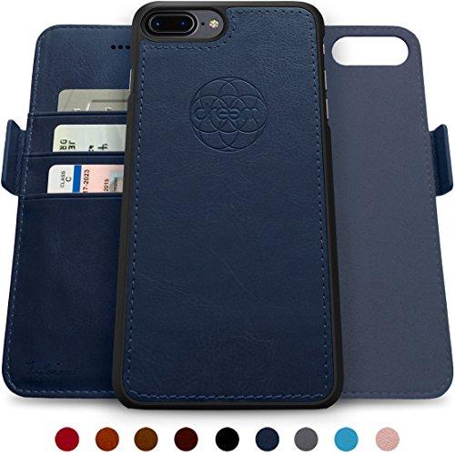 Dreem Fibonacci Brieftasche & Schutz-Hülle für iPhone 7/8-Plus, magnetisches herausnehmbare TPU Case, dünn bruchfest, 2 Standfunktionen, hochwertige synthetische Leder-Tasche, RFID Schutz - Königsblau