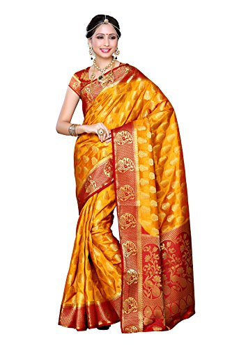 Mimosa Women's Traditional Art Silk Saree Kanjivaram Style With Blouse Color:Mustard(3299-224-MSTD-MRN )  available at amazon for Rs.1899