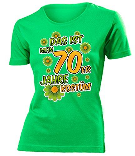 70er Jahre Kostüm Frauen T-Shirt Karneval Fasching Motto Schlager Party Outfit Schlagershirt Faschingskostüm Schlagerkostüm Oberteil Accessoires Jacke