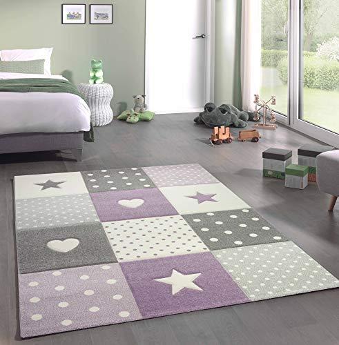 Kinderteppich Teppich Kinderzimmer mit Stern Herz in Lila Grau Creme Größe 160x230 cm