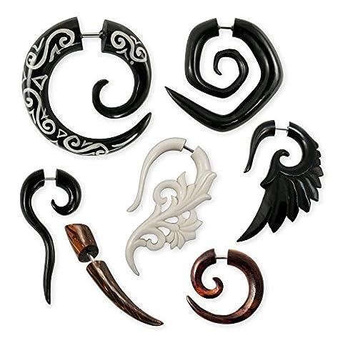 Fly Style® - 1 Stück - verschiedene Modelle Fake Plug Spirale Piercings aus Holz, Horn oder Knochen, Modell:Horn-Spirale Celtic (Celtic Horn)
