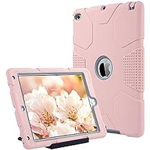 iPad Air 2 Caso, ULAK iPad Air 2 Funda 3in1 Carcasa híbrido resistente resistente a choques caso de la cubierta de Kickstand para iPad Air 2 2014 Release (6ta generación) - Oro rosa