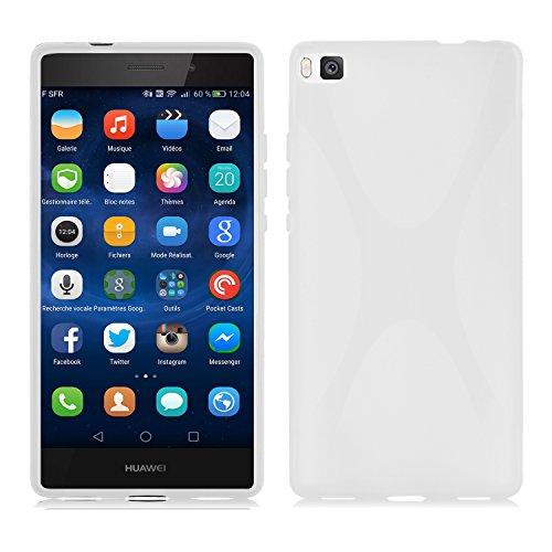 Preisvergleich Produktbild Cadorabo Hülle für Huawei P8 Hülle in Handyhülle aus flexiblem TPU Silikon im X-Line Design Silikonhülle Schutzhülle Soft Back Cover Case Bumper Magnesium Weiß