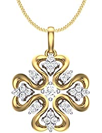 Clara Silvo 18K Gold Plated Sterling Silver Emily Pendant With Chain For Women And Girls