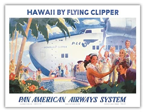 Pan American Airways System (PAA) - Hawaii by Flying Clipper - Honolulu Clipper Boeing 314 Flying Boat - Vintage Hawaiian Travel Poster by Paul George Lawler c.1940s - Bon Art Print hawaien