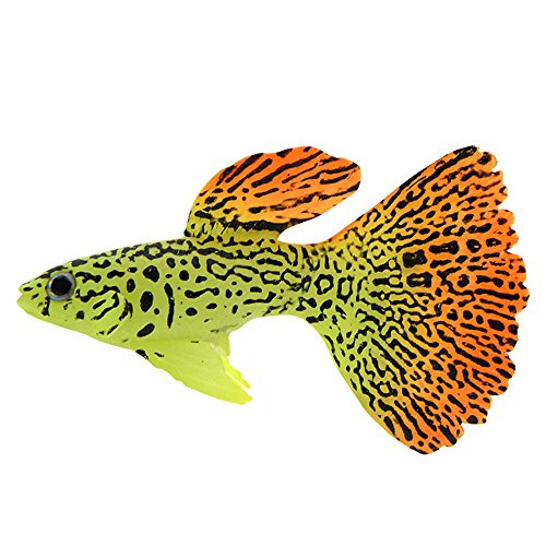 FiedFikt Künstliche Kunstfische für Aquarien, mit leuchtenden Effekten, goldfarben C