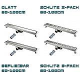Wagner Edelstahl Flach Duschrinne Duschablauf Ablaufrinne Duschrost - Variationen (Glatt - Schlitz - Befliesbar) (Befliesbar, 90cm)