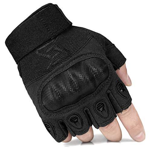 FREE SOLDIER Outdoor Herren Halber Finger Handschuhe Radfahren Klettern Ausbildung Handschuhe (L, Schwarz)