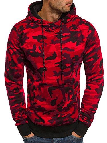 OZONEE Herren Kapuzenpullover Sweatshirt Langarmshirt Sweatjacke Motiv Pullover Prints Camouflage Pulli J.STYLE DD129-10 M WEINROT