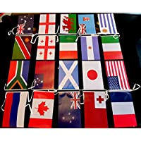 Non Consumables Rugby World Cups 2019 Bunting- 10m Length. Indoor and outdoor use. Printed to both sides, 20 flags of participating countries
