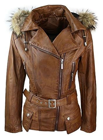 Manteau veste parka d'hiver marron pour femme en cuir véritable