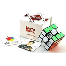 BY-Romance MoYu Weilong GTS2 V2 3x3x3 Cubo mágico del cubo de la velocidad de la competencia profesional sin adhesivo, negro