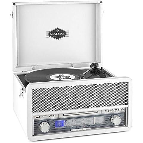 auna Epoque 1907 Impianto stereo multifunzione Vintage Giradischi e altoparlanti integrati (lettore LP, lettore CD, MP3, 2 Casse audio, bluetooth, mangianastri, telecomando) - bianco