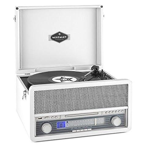 auna • Belle Epoque 1907 • Retroanlage • Stereoanlage • Plattenspieler • Riemenantrieb • max. 78 U/min • Bluetooth • Radio-Tuner • UKW/MW Empfänger • Frequenzbandanzeige • Digitalisierungsfunktion • CD-Player • MP3-fähig • Kassettendeck • USB-Port • AUX •