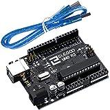 Elegoo UNO R3 Board Scheda ATmega328P ATMEGA16U2 con Cavo USB Compatibile con Arduino Uno R3 Microcontrollore