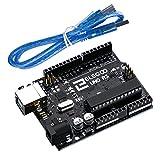 ELEGOO UNOR3 Tarjeta UNOR3 Placa con Microcontrolador Basada en el ATmega328P ATMEGA16U2 con Cable USB Compatible con UNOR3 Tarjeta