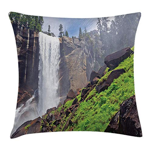 Yosemite Throw Pillow Cushion Cover, Misty Vernal Fall with Greenery Trees Rocks Summer Adventure Outdoor Photo Print, Decorative Square Accent Pillow Case, 18 X 18 inches, Green Blue