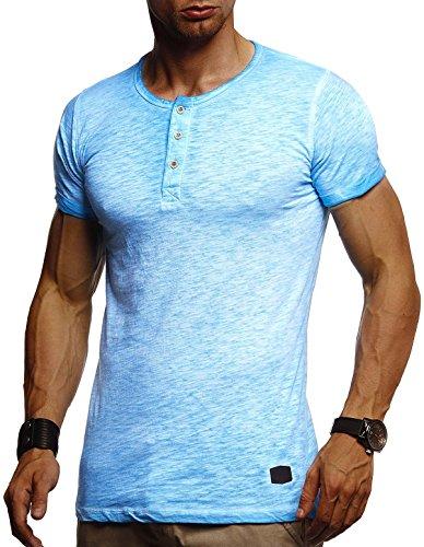 Leif Nelson Herren Sommer T-Shirt Rundhals-Ausschnitt Slim Fit Baumwolle-Anteil Moderner Männer T-Shirt Crew Neck Hoodie-Sweatshirt Kurzarm lang LN8226 Hell Blau X-Large
