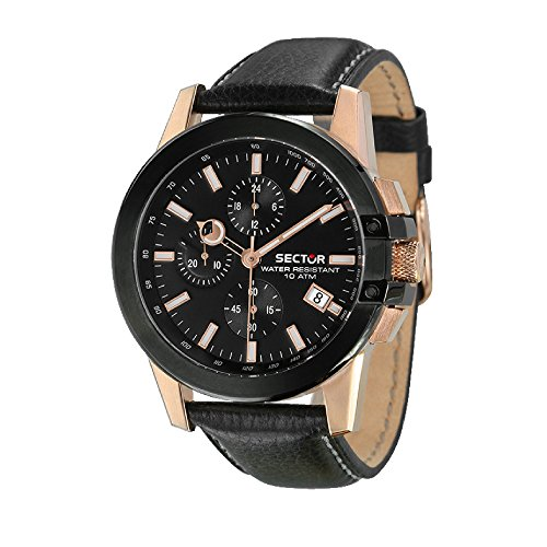 SECTOR Herren Chronograph Quarz Uhr mit Leder Armband R3271797002
