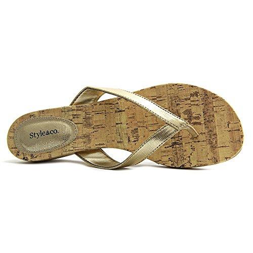 Style & Co Haloe Synthetik Keilabsätze Sandale Champagne