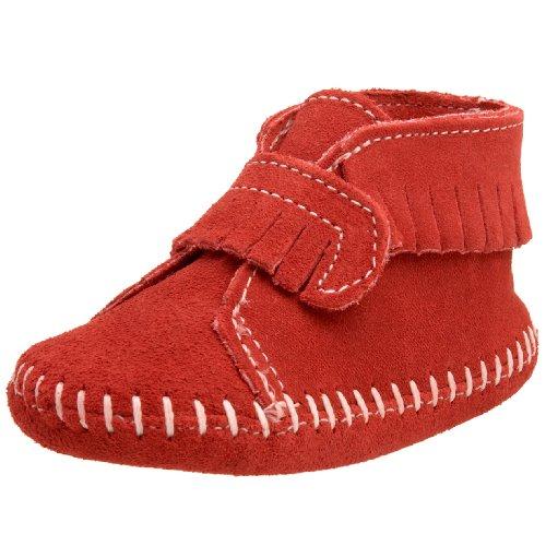 Minnetonka Unisex Baby Velcro Front Strap Bootie Krabbelschuhe, Rot (Red), 19 EU (Strap Bootie Front)