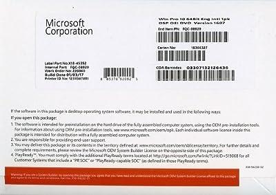 Microsoft Windows 10 Professional 64 Bit OEM DVD