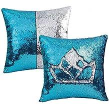 Funda de almohada reversible con lentejuelas de sirena, 2 unidades, para sofá de casa