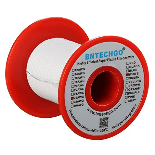 BNTECHGO 26 Gauge Silicone Wire Spool White 50 feet Ultra Flexible High Temp 200 deg C 600V 26 AWG Silicone Rubber Wire 30 Strands of Tinned Copper Wire Stranded Wire for Model Low Impedance Awg 50 Spool