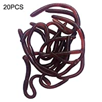 Takefuns 20 Pcs Simulation Earthworm Plastic Lifelike Worm Soft Stretchy Rubber Earthworms Trick Toy for Halloween Party