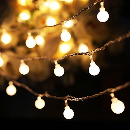 Mihaz 10m 32.8ft 100 LED Luce natalizia coperta Globe Patio Stringa con Warm White Ball per il Natale all'aperto di nozze del festone del partito