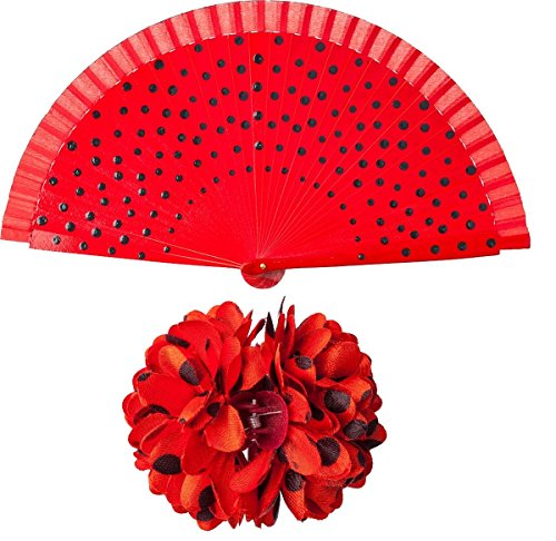 menco Spanierin Haarspange Fächer Karneval (Flamenco Kostüme Halloween)