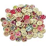 100Pcs Botones Colores Pintados Impresos de Madera Redondos Para Costura Manualidades Bricolaje