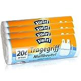 Swirl Tragegriff-Müllbeutel, 20 Liter, Antibakteriell, 4 Rollen mit je 20 Beuteln, Weiß