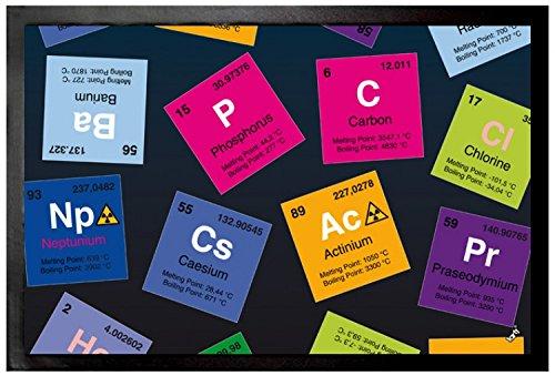 1art1 97691 Periodensystem Der Elemente - Kohlenstoff, Barium, Brom, Radium, In Englisch Fußmatte Türmatte 60 x 40 cm