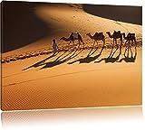 Kamelkarawane in der Wüste Bild auf Leinwand, XXL riesige Bilder fertig gerahmt mit Keilrahmen, Kunstdruck auf Wandbild mit Rahmen, guenstiger als Gemaelde oder Bild, kein Poster oder Plakat, Format:100x70 cm