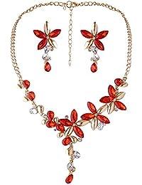 878e9a9a90af ZUMUii Butterme Mode Mujeres Cristal Flor Declaraci¨®n Chapado en Oro Collar  Pendientes Conjunto
