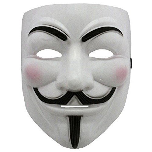 V For Kostüm Vendetta Anonymous (2015 NEW V wie Vendetta Maske mit Eyeliner Nostril Anonymous Guy Fawkes Fancy Adult Kostüm Zubehör Halloween-Maske Boolavard)