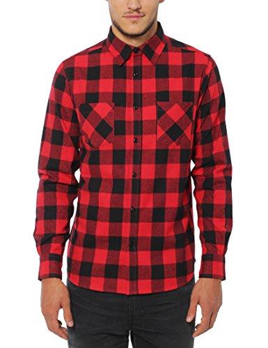 Lower East Chemise à carreaux et longues manches en flanelle pour homme avec un col Kent, Rouge/Noir, S