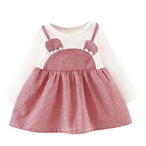 CUTUDE Kleinkind Baby Mädchen Kleid Plaid Ohren Kleider Langarm Tutu Urlaub Prinzessin Outfit Kleidung